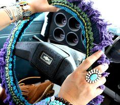 Hippie Highway Sterring Wheel Cover, Denim Rick-Rack, $25