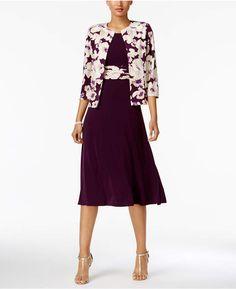 Jessica Howard Floral-Print-Contrast Dress and Jacket, Regular & Petite Sizes #weddingseason #onsale
