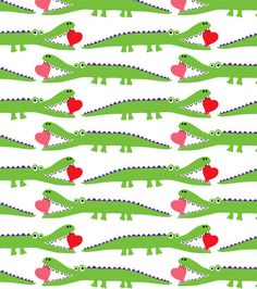 Cute alligator and hearts fabric for children from Spoonflower. Designed by me, Andi Bird.