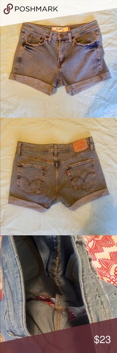 Levi Jean Shorts💙 These shorts were once pants but were made into cut off shorts! Distressed at the bottom they just could be rolled better. Says size 7M and I'm a size 5/6 and they fit perfectly. I like these a lot but I need the money. Great condition! Please ask all questions😍 Signature by Levi Strauss Shorts Jean Shorts