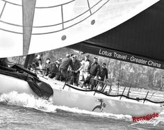 """First time to ROLEX BBS San Francisco is """"Beau Geste,"""" which is tearing up the courses. She's owned by Karl Kwok of the Royal Hong Kong Yacht Club. Designed by Botin and built at Cookson Boats in 2016 ... #BBS #bigboatseries #Rolex #blackandwhite #pac52 #sanfranciscobay #sanfrancisco #california #sailing #sailor #sailstagram #competition #athletes #sports #sailboat #yacht  #velas #wind #sailfast"""