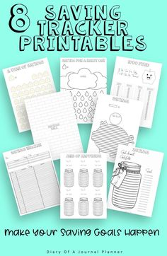 From small savings goals to big dreams these savings trackers will help you reach your savings goals. Planner Sheets, Planner Pages, Printable Planner, Bullet Journal Printables, Bullet Journal Layout, Bullet Journal Savings Tracker, Savings Chart, Happy Jar, Finance Tracker