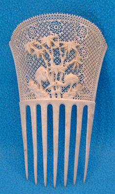 Chinese-made ivory comb for export to the Victorian market, c. 1890