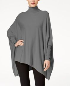 Alfani Turtleneck Poncho Sweater, Created for Macy's Women - Sweaters - Macy's Stylish Dress Designs, Stylish Dresses, Surf Poncho, Skirt Outfits, Cute Outfits, Over The Knee, Kurta Designs, Poncho Sweater, Business Attire