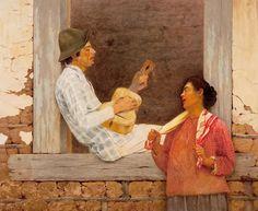 O Violeiro. 1898. Óleo sobre tela. José Ferraz Almeida Júnior (Itu, SP, Brasil, 08/05/1850 - 13/11/1899, Piracicaba, SP, Brasil). Encontra-se na Pinacoteca do Estado de São Paulo, SP, Brasil.
