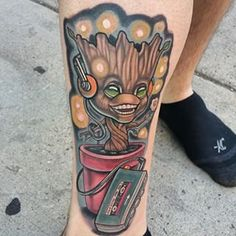 Baby Groot jamming out. | 31 Marvel Tattoos That Will Inspire You To Be A Superhero