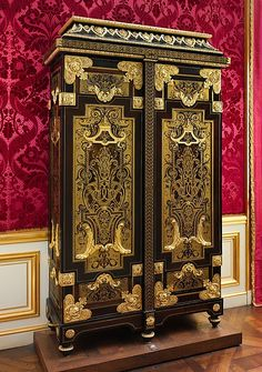 Cabinet Attributed to André Charles Boulle, ca. 1700, French, Paris, Oak veneered with Macassar and Gabon ebony, ebonized fruitwood, burl wood, and marquetry of tortoiseshell and brass; gilt bronze