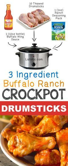 #6. 3 Ingredient Buffalo Ranch Crockpot Drumsticks | 12 Mind-Blowing Ways To Cook Meat In Your Crockpot