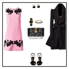"""""""Pink Dress - Black Coat"""" by purplecc88criss ❤ liked on Polyvore featuring Dolce&Gabbana, Sophia Webster, Rolex and Dolce Giavonna"""