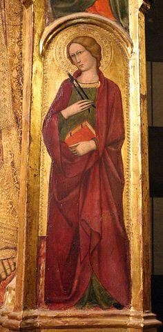 Andrea Vanni - Santa dettaglio Madonna col Bambino e Santi  - 1400 - Siena, Battistero di San Giovanni