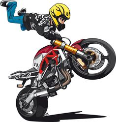 Motorcycle Stunt Names; The Big List. Moto Bike, Motorcycle Art, Bike Art, Dope Cartoon Art, Dope Cartoons, Stunt Bike, Biker Boys, Biker Gear, Chopper Bike