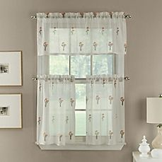 image of Poppy Embroidered Window Curtain Tier Pair and Valance in Coral