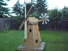 wooden homemade garden windmill by laszlo