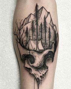 Camping skull tattoo