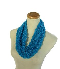 Turquoise Cowl Knit Cowl Circle Scarf Loop by ArlenesBoutique