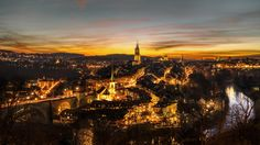 We were very lucky on the last PhotoTour we have done in Bern.  The picture shows the location where we stayed for almost an hour. The sunset just kept getting better and better! @ www.lightsandbytes.com #beatdietsch Bern, Beautiful Sunset, Picture Show, Paris Skyline, Bring It On, Tours, Night, City, Pictures