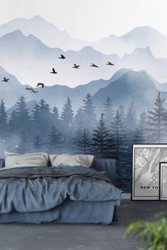 Monochrome Mountainscape with Misty Forest Wallpaper Mural Kids Wall Murals, Murals For Kids, Art Mural, Mountain Wallpaper, Forest Wallpaper, Wallpaper For House, Easy Wallpaper, Wallpaper Murals, Mountain Mural
