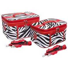 2-Piece Set Zebra Print w/ Red Trim Cosmetic Cases ** For more information, visit image link.