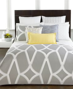 Bedding from Macys - Hotel Collection Modern Lancet Bedding Collection - Bedding Collections - Bed & Bath - Macy's Dream Bedroom, Home Bedroom, Bedroom Decor, Master Bedroom, Master Suite, Hotel Collection Bedding, Bed Linen Design, Queen Bedding Sets, Queen Duvet