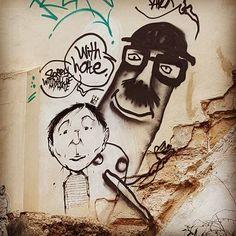 Mallorcan graffiti! These cute little works of art are all over Palma de Mallorca. #palma #palmademallorca #Spain #mallorca #graffiti #graffitiart