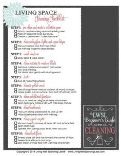 Living Space Cleaning Checklist