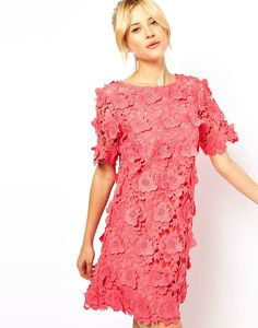 ASOS Pink Shift Dress with 3D Flowers ($128, originally $226)