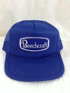 Vtg Beechcraft Trucker Hat Aircraft Blue Mesh Snapback Cap #CAP #Trucker