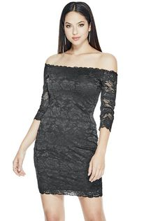 Celina Off-The-Shoulder Lace Dress at Guess Sheer Lace Dress, Lace Dress With Sleeves, Off The Shoulder, Shoulder Dress, Mode Glamour, See Through Dress, Guess Dress, Scalloped Lace, Lace Shorts