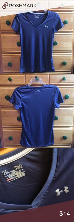 Under Armour heat°gear Workout Shirt make me an offer!                                                      purple/blue colored under armour workout shirt. worn a couple of times & has no flaws :-) Under Armour Tops Tees - Short Sleeve