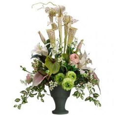 Colorful Silk Orchid Arrangment with Protea, Roses ARWF3953