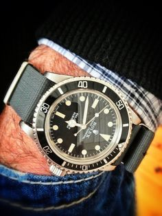 Image result for rolex 50th anniversary submariner leather nato strap