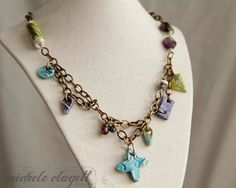 Layered Ceramic Charm Bead and Fluorite Necklace by MicheleClagett, $75.00