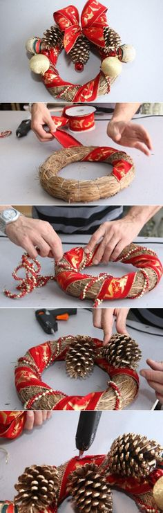 how to make christmas wreath with red and gold decorations
