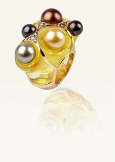 """Creamy"" Ring, creamy tahiti pearls, champagne diamonds on amber and gold."