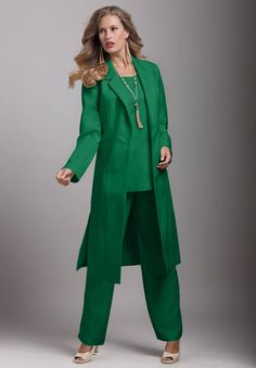 green pant suit - Pi Pants