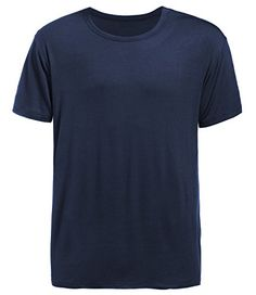 Latuza Men's Short Sleeve Crew Neck Tee L Dark Blue  95% Viscose, 5% Spandex  Double-stitched sleeves and hem durability  Soft and a relaxed fit  This short sleeve tee is great for sleeping, lounging and exercising  Machine washable