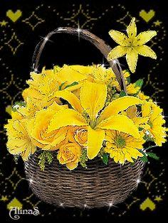 Букет с желтыми лилиями
