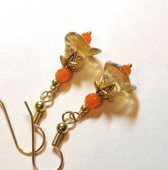 Jewelry, Earrings Champagne Czech Bell Flowers, Czech Opal Orange Faceted Glass, Gold FREE SHIPPING. $6.00, via Etsy.