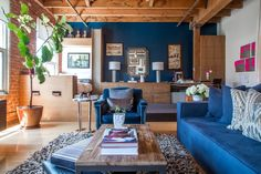 Greg's Remodeled Live/Work Space - love that blue wall! This is the most beautiful loft layout I have ever seen.