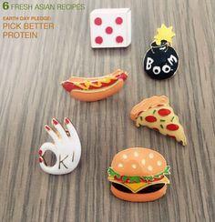 X013 Frete grátis Bonito De Metal De Pizza Hambúrgueres Hot Dogs Ovos Escalfados Dice Bombas Pinos Broche, Moda Jóias Por Atacado