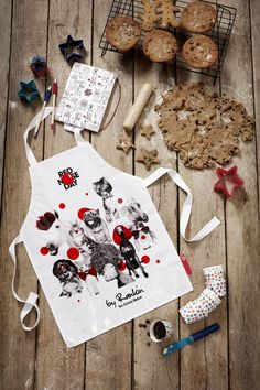 Limited-edition, adult apron featuring Charlie, Eleanor, Albert, Florence, Alfie, Dorris, Sidney, Coco, Jonny and Bertie, and created exclusively for Red Nose Day by renowned fashion and portrait photographer, Rankin.