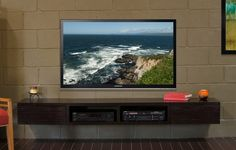 Wall Mounted Floating TV Console - Mayan Espresso
