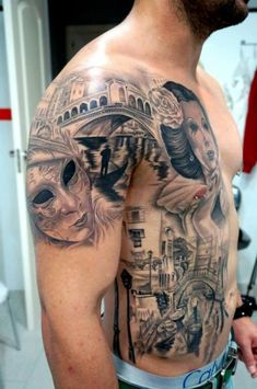 Schulter Seite Realistische Masken Venedig Tattoo von Astin Tattoo