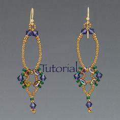 SuperDuo Beadwoven orecchini Tutorial Erte Digital di JewelryTales