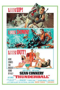 Thunderball (United Artists, One Sheet X James Bond. Starring Sean Connery, Claudine - Available at Sunday Internet Movie Poster. Sean Connery, Old Movies, Vintage Movies, Great Movies, Movies Free, James Bond Movie Posters, James Bond Movies, Cinema Posters, Pop Punk