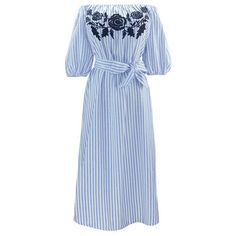 Chicnova Fashion Off Shoulder Striped Dress ($20) ❤ liked on Polyvore featuring dresses, stripe dress, stretchy dresses, embroidered dress, striped dress and blue striped dress