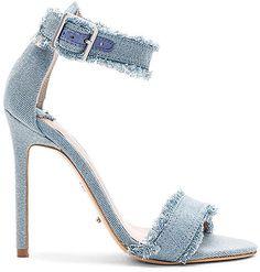 Shop for Tony Bianco Kira Heel in Light Denim at REVOLVE. Denim Pumps, Denim Sandals, Denim Boots, Blue Heels, White Heels, Shoes Heels, Flat Booties, Love Jeans, Killer Heels