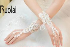 New Arrival 2017 Bridal Dresses Accessories Wrist Bridal Gloves Lace Fingerless One Size For Wedding Dresses #Affiliate