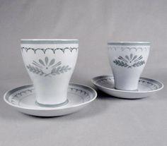 Arabia, Green Thistle, Handpainted, Juice Glasses, Coffee Cup, Coasters, sets