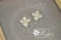 Bridal floral earrings on silver wire, crystal beads, flat back crystal rhinestones.